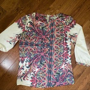 Cleo boho whimsical pattern cream long sleeve top,